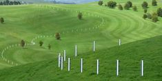 Daniel Buren @ Gibbs Farm    Green and White Fence  1999 / 2001  Fence posts at 4m intervals, painted green and white 87mm stripes 3.2km long