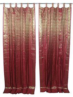 Mogul 2 Indian Sari Curtains Maroon Gold Brocade Silk Saree India Decor Curtain Drapes Bohemian Decor Window Panels, Mogul Interior http://www.amazon.ca/dp/B0148NAEUU/ref=cm_sw_r_pi_dp_Wnb6vb1TTJZ3N   #silkcurtain #indiancurtain #bohocurtain #home decor