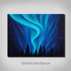 Original northern lights painting Night sky Wall art Galaxy painting Aurora borealis Oil painting on canvas Landscape painting Starry night by ArtColorSpace on Etsy