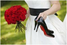 Stephanie Allin Dress with black sash, classic Louboutins Shoes and blood red roses - I love this classic bridal style with an edge of vintage © Franck Boutonnet Photography via French Wedding Style Blog