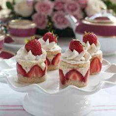 Strawberry Baby Cakes with Rose Tea–Infused Mousse - tea party idea Tea Cakes, Mini Cakes, Cupcake Cakes, Cupcakes, Baby Cakes, Strawberry Baby, Strawberry Recipes, Sweet Recipes, Cake Recipes
