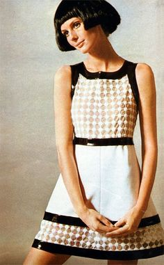 1969, Courreges mini dress; what's black and white and cute all over?