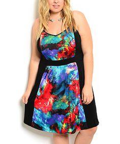 Black & Blue X-Back Skater Dress