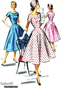 1950s+Dress+Pattern+McCalls+3626+Misses+Full+Skirt+by+paneenjerez,+$22.00
