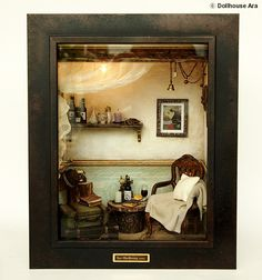 The Room with Old TRUNK No.1 Vintage Antique chair door DollhouseAra, $425.00