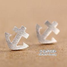 Handmade Sterling Silver Anchor Earring, 925 Silver Ear Studs, Teenage, Valentine, Bridemaid, Bridal, Wedding