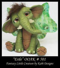 Fantasy Elephant DollHouse Art Doll Polymer Clay CDHM OOAK IADR Erde miniature by Karina Henriquez