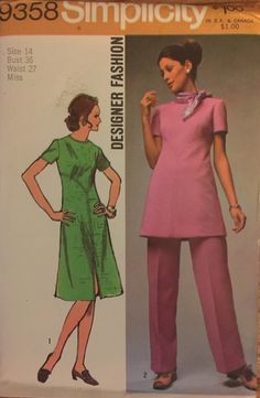 "VTG 9358 Simplicity (1971).  Designer Fashion.  Dress or tunic & pants.  Size 14, Bust 36"". Complete, unused, FF. Excellent condition."