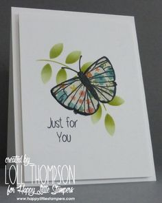 Stamping with Loll: Flowery Butterfly - paper pieced butterfly over top of stencilled leaves