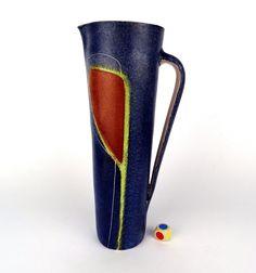 modernist Design Vase Krug 28 cm Krösselbach Keramik signed German pottery 1960s