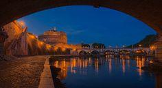 Rome, Castle of the Holy Angel viewed from the riverbank below Vittorio Emanuele II Bridge.  Displays best on a black background.