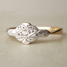 Art Deco Diamond Engagement Ring, Antique Diamond & 9k Gold Wedding Ring, Vintage Engagement ring, Approximate Size US 7. $385.00, via Etsy.