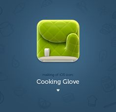 Cooking Glove - An amazing iOS icon. Making of by Anna Paschenko, via Behance Interface Design, Ui Design, Icon Design, Graphic Design, Mobile App Icon, Mobile Ui, Android App Icon, Launcher Icon, Application Icon