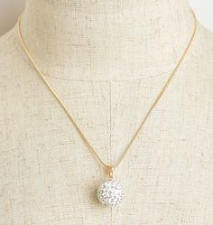 Womens Rhinestone Embellished White Ball Necklace Gold and Silver