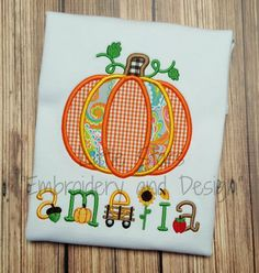 Pumpkin with Fall Letters Embroidered and by LittleStars11 on Etsy