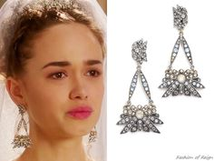 """the CW's Reign Fashion & Style In the episode 3x10 (""""Bruises That Lie"""") Princess Claude wears these Lulu Frost Larkspur Drop Earrings ($275)."""