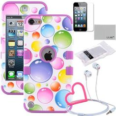 Pandamimi ULAK(TM) Hybrid 3 Layer Hard Skin with Silicone Shell Inside Case Cover for Apple iPod Touch Generation 5 and Free Screen Protector + Stylwire(TM) Pink Heart Stereo Headphone (Colorful Bubble Skin / Purple) by ULAK, http://www.amazon.com/dp/B00EE366D4/ref=cm_sw_r_pi_dp_ENTesb0KZ8YZY