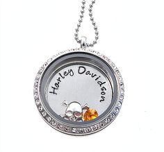 Harley Davidson Necklace / Floating Locket / Living Locket