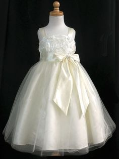 b4c1b2ff726 Ivory Ribbon Embroidered Taffeta Bodice   Satin Skirt w Tulle Overlay.  Ivory Flower Girl DressesFlower ...