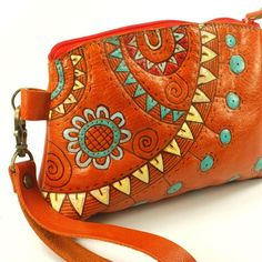 Sunday party orange Leather bag purses by rntn on Etsy, $78.00