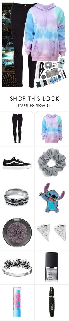 """""""Setting up in Frankfurt, Germany but whY DO YOU HAVE SO MANY PEDALS JOSH?!?     Mellie"""" by jet-black-fart ❤ liked on Polyvore featuring Frame Denim, Vans, Natasha Couture, NOVICA, Primrose, NARS Cosmetics, Maybelline and Beauty Treats"""