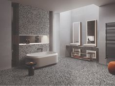 Porcelain stoneware wall/floor tiles terrazzo effect MEDLEY GREY Medley Collection By Ergon Terrazo, Terrazzo Flooring, Wall And Floor Tiles, Stoneware, Branding Design, Porcelain, Furniture, Google Search, Home Decor