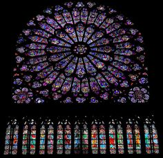 Stained glass in Paris, France.