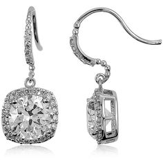 BERRICLE Sterling Silver Round Cut CZ Halo Fish Hook Dangle Drop... (76 CAD) ❤ liked on Polyvore featuring jewelry, earrings, clear, dangle earrings, women's accessories, clear crystal drop earrings, sterling silver earrings, clear earrings and sterling silver dangle earrings