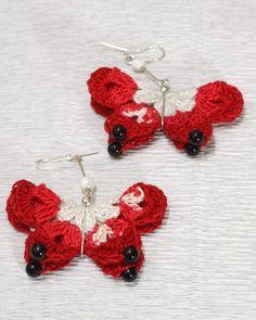Dangle crochet butterfly earrings lace crochet jewelry   Etsy Crochet Butterfly, Butterfly Art, Crochet Lace, Crochet Dolls, Red Jewelry, Dainty Jewelry, Jewellery, Rainbow Laces, Wire Wrapped Earrings