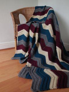 Crochet chevron blanket / afghan / throw in by domushandmade