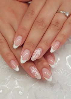 153 amazing french manicure nail art designs ideas - French manicure nails - The Effective Pictures We Offer You About wedding nails bridesmaid peac Classy Nails, Cute Nails, Pretty Nails, French Manicure Nails, French Tip Nails, French Manicure With Design, Bride Nails, Wedding Nails, Hair And Nails