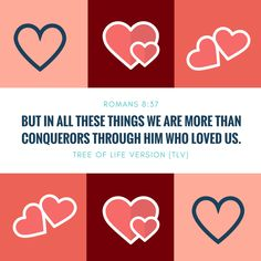"""""""But in all these things we are more than conquerors through Him who loved us."""" Romans 8:37 TLV #tlvbible #thelovemonth"""