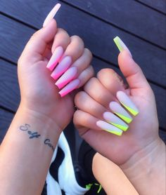 Milky Nails Are the Big Manicure Trend for 2020 and Lizzo Is a Fan Neon Acrylic Nails, Bright Summer Acrylic Nails, Long Square Acrylic Nails, Acrylic Nail Designs, Summer Nails, Long Square Nails, Bright Nail Designs, Drip Nails, Aycrlic Nails