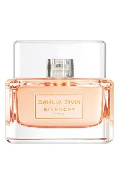 Givenchy 'Dahlia Divin' Eau de Toilette at Nordstrom.com. Like an haute couture gown, Givenchy Dahlia Divin, a fragrance of the light, envelops you in freshness and sensual softness that reveals the divine goddess within you. The exquisitely refined, multifaceted fragrance is deliciously floral with fresh, citrus, fruity touches.Notes:- Top: blood orange, pink pepper, peach skin accord.- Middle: jasmine, rose essence.- Base: sandalwood, musk, vanilla.