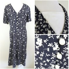 """*vintage*  floral weekend dress pretty navy blue and cream floral print weekend dress with cleavage cover, button detail and cross back tie (some wear spots throughout) heavier weight. Brand: Caroline Wells II. Size: 20 (B:26"""" W:25"""" H:30"""" L:47"""" N:11"""" A:12"""") - #DRESS15.3 Vintage Dresses"""