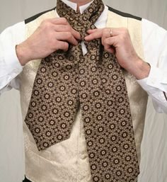 Ascot Tie and Cravat - Tie Knots That Work Victorian Mens Clothing, Victorian Fashion, Vintage Clothing, Vintage Men, Steampunk Costume, Steampunk Fashion, Steampunk Emporium, Cravat Tie, Historical Emporium