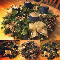 2017 gold for Oma&Opa Advent Wreath, Wreaths, Table Decorations, Gold, Fun, Home Decor, Homemade Home Decor, Door Wreaths, Deco Mesh Wreaths