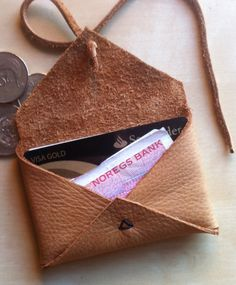 Small Leather Wallet. $30.00, via Etsy.