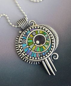 RESERVED Sterling silver pendant necklace with Iridescent Mosaic inlay Polymer Clay sterling chain Metal Clay Jewelry, Enamel Jewelry, Polymer Clay Jewelry, Stone Jewelry, Jewelry Art, Silver Jewelry, Jewelry Design, Fashion Jewelry, Jewellery