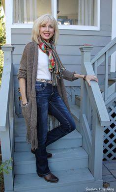Fashion over 50:  Long sweaters #fringe