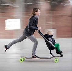 Longboard with carseat attachment = one brilliant idea!