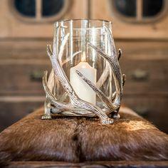 Twisted Antler Hurricane Lantern - Lanterns & Accessories - New Arrivals Hurricane Lanterns, Hurricane Glass, Custom Labels, Plexus Products, Antlers, Lamp Light, Tea Lights, Candle Holders, Glow