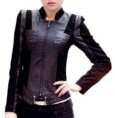 aa660cab085 QYL Women s Plus Size PU Leather Cloth Splicing Zip Up Moto Jacket  Amazon. ca  Sports   Outdoors