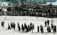 """GIRLS BASKET BALL IN JAPAN -- With Real Bamboo Baskets !  o.o    Ca.1900-10 """"Sports Day"""" game of Basketball at a local Girls School"""