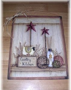 Country Kitchen wooden wall art sign Sheep burgundy barn stars primitive decor  where