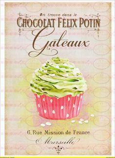 Bügelbilder - Vintage Shabby Chic french Paris Cupcake - ein Designerstück von Doreens-Bastelstube bei DaWanda