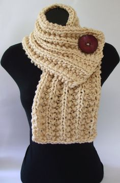 Cream White Chunky Knit Cowl with Large Red Button