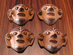 CYBER MONDAY SPECIALS ARE HERE ! 4 Ceramic Mini Masks done by Brazilian Naif Artist Ana by gol2002, $149.00