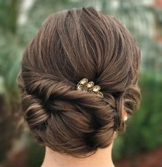 60 Trendiest Updos for Medium Length Hair - Twisted Low Bun Updo - Updos For Medium Length Hair, Wedding Hairstyles For Medium Hair, Easy Updo Hairstyles, Up Dos For Medium Hair, Formal Hairstyles, Medium Hair Styles, Natural Hair Styles, Short Hair Styles, Homecoming Hairstyles