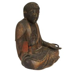 Japanese Edo Period Lacquered Pine Seated Amida Buddha   From a unique collection of antique and modern sculptures and carvings at https://www.1stdibs.com/furniture/asian-art-furniture/sculptures-carvings/